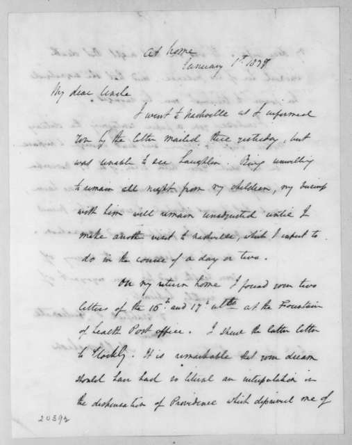 Andrew Jackson Donelson to Andrew Jackson, January 1, 1837