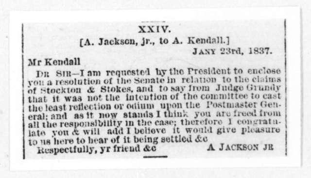 Andrew Jackson, Jr. to Amos Kendall, January 23, 1837