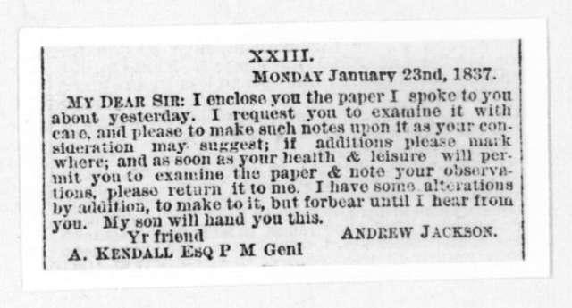 Andrew Jackson to Amos Kendall, January 27, 1837