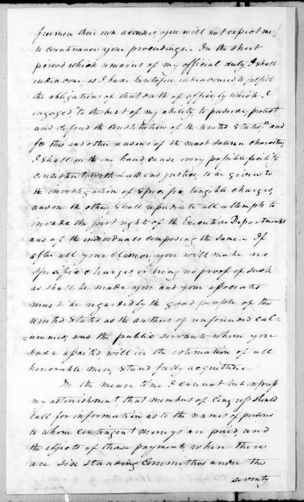 Andrew Jackson to House of Representatives, January 26, 1837