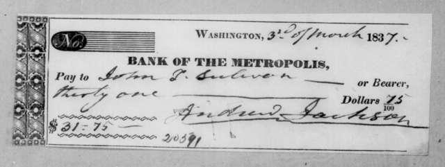 Andrew Jackson to John L. Sullivan, March 3, 1837
