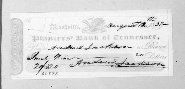 Andrew Jackson to Tennessee Planters Bank, August 12, 1837