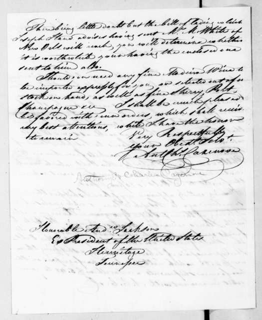 Arthur Charles Cazenove to Andrew Jackson, July 1, 1837