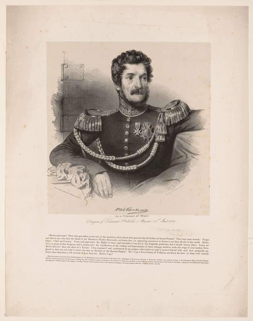 B.H.L. Klimkiewicz as a prisoner of state. Dungeon of Kamienice Podolski (Russia) 15th Jany. 1826 from life & on stone by Chas. Fenderich Washn. City