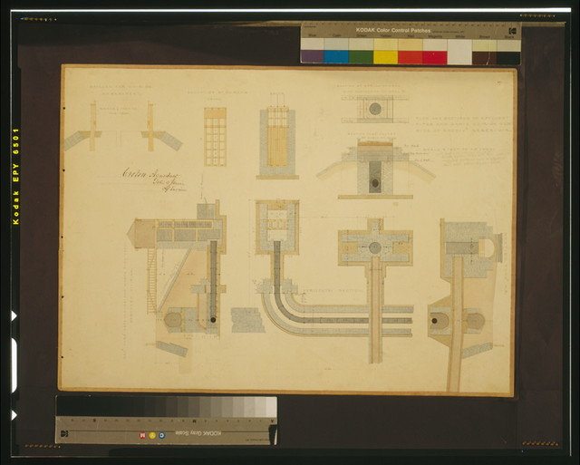 [Croton Aqueduct, (Westchester Co., New York). Elevation,  section, and plans. Rendering] / John B. Jervis, chief engineer.