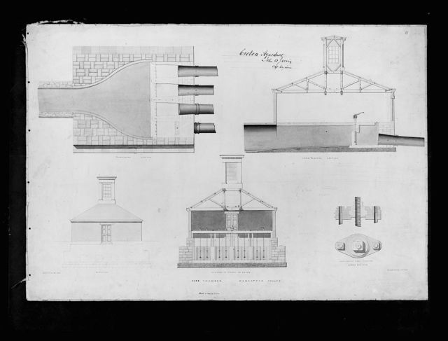 [Croton Aqueduct, (Westchester Co., New York). Pipe chamber, Manhattan Valley. Elevation, sections, and details. Rendering] / John B. Jervis, chief engineer.