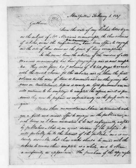 Dolley Payne Madison to Carey, Lea & Co, February 1, 1837.