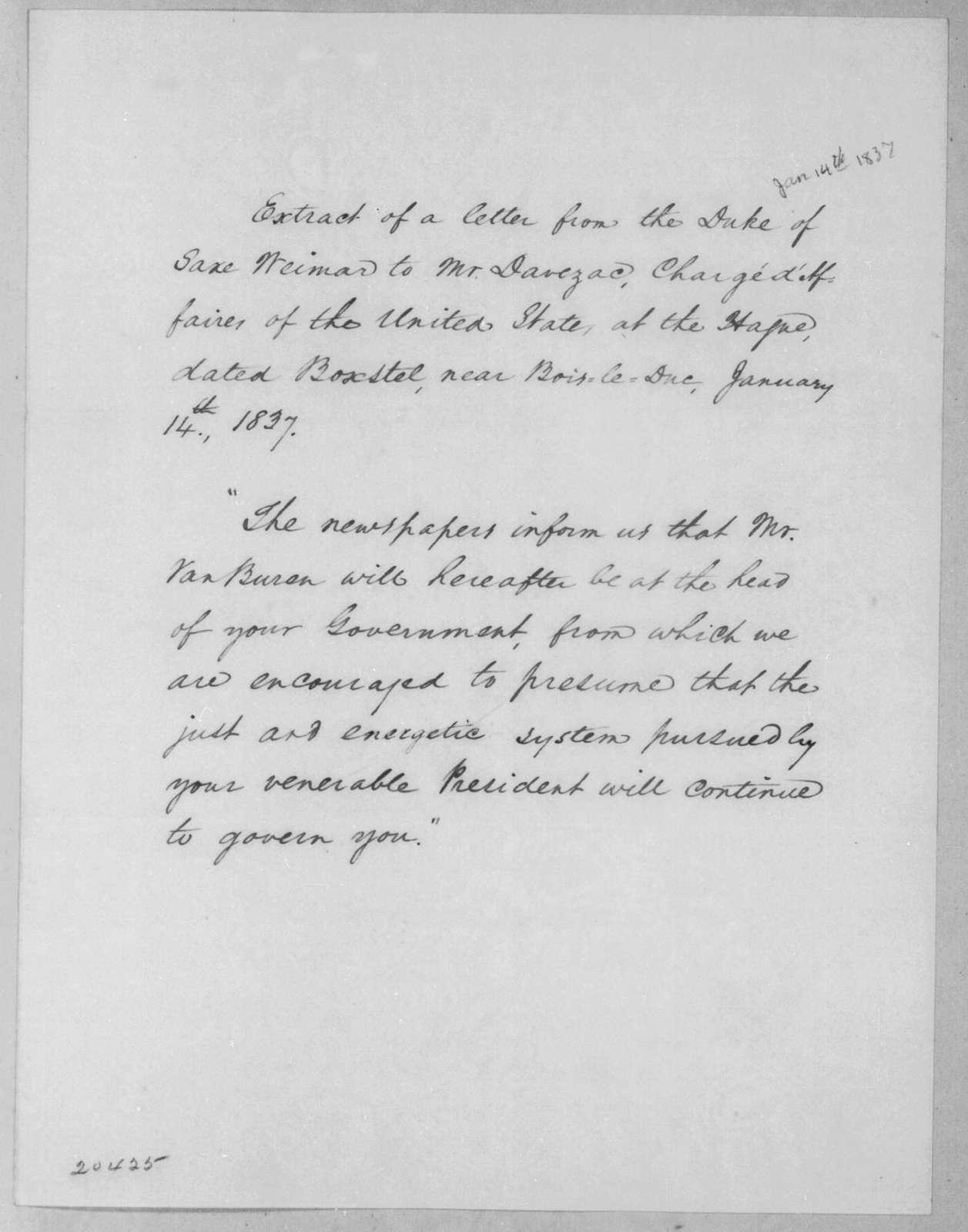[Duke] Saxe-Weitmar to Auguste Genevieve Valentin Davezac, January 14, 1837