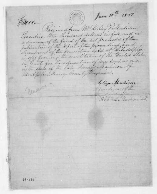 Eliza Madison to Dolley Payne Madison, June 10, 1837.