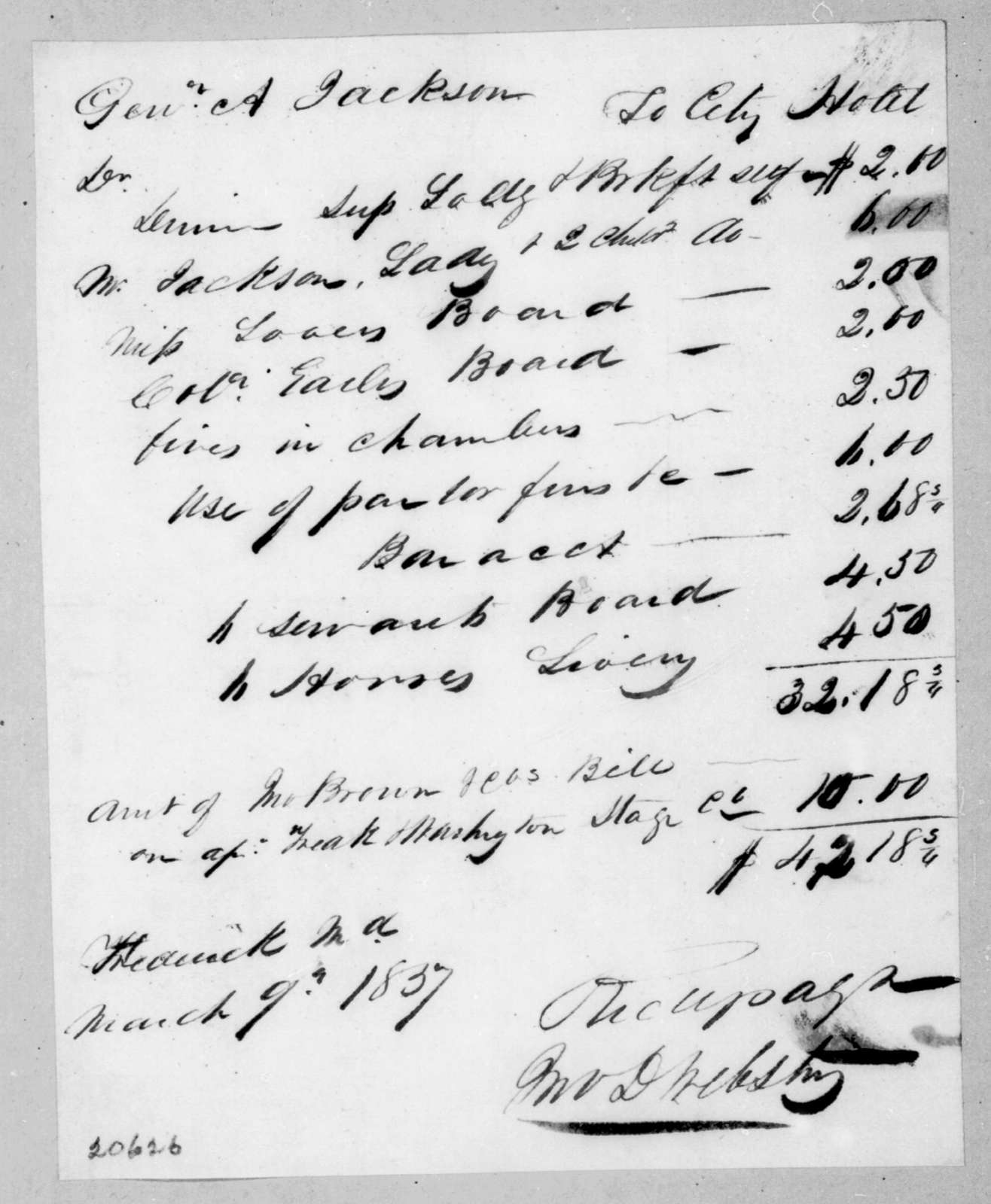 Frederick Maryland City Hotel to Andrew Jackson, March 9, 1837
