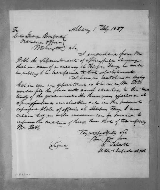 G. Talcott to George Bomford, February 1, 1837
