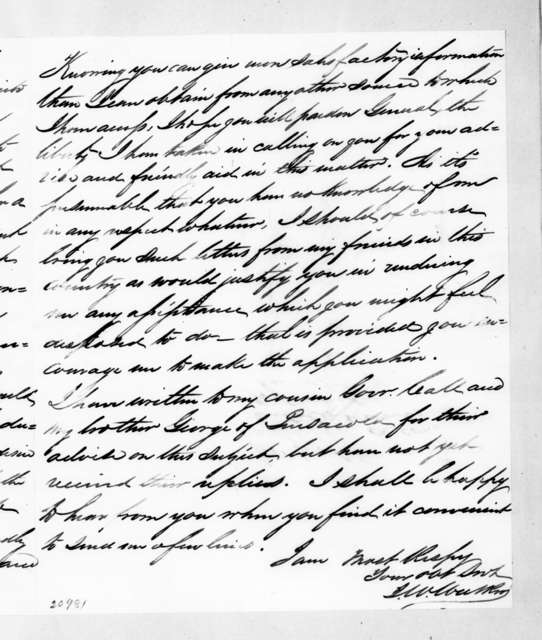 J. W. Walker to Andrew Jackson, November 5, 1837