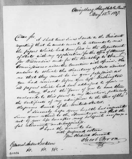 Jacob Broom to Andrew Jackson, May 12, 1837