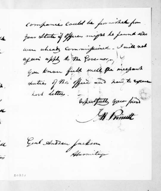 Joel Roberts Poinsett to Andrew Jackson, September 23, 1837
