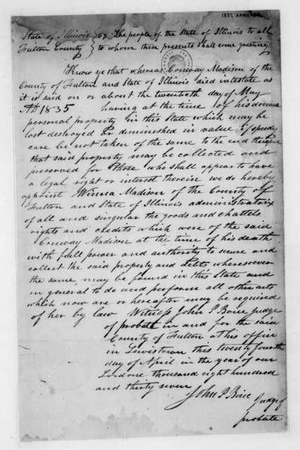 John P. Boice, April 24, 1837. Affidavit, Estate of Conway Madison.