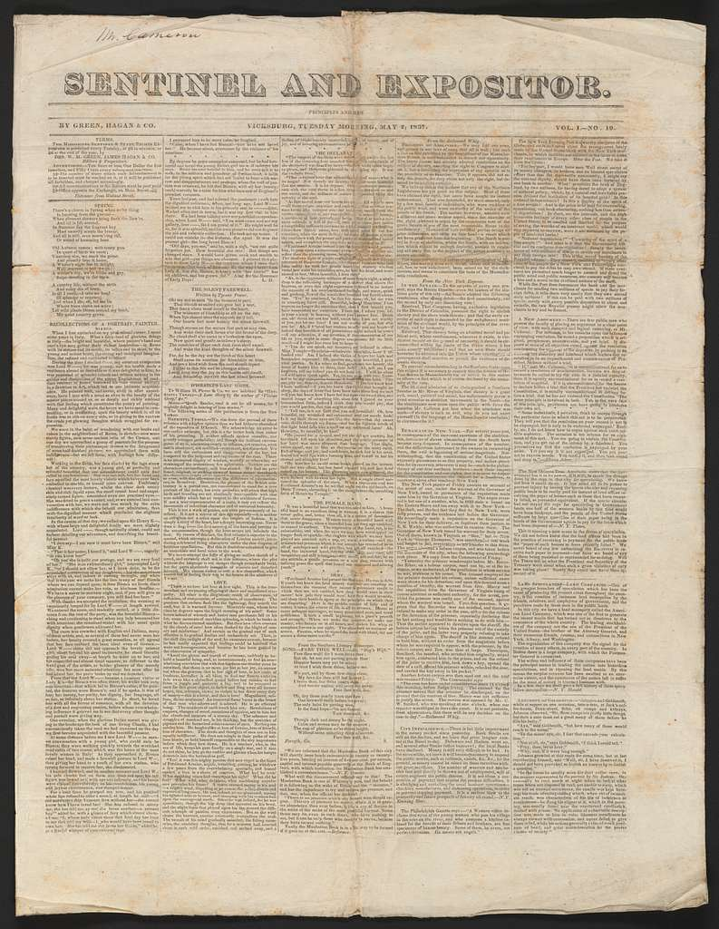 Joseph Holt Papers: Oversize, 1830-1850; Miscellany; Printed matter; General; 1830-1850s (Container 117, folder 4); Sentinel and Expositor (Vicksburg, Miss.), May 2, 1837