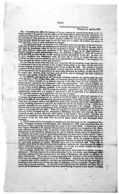 [Letter to Albion K. Parris, Second comptroller, Treasury department from N. Townson, paymaster General's April 5, 1837 and Mr. Parris's reply of April 7, 1837.] [Washington, D. C. 1837].