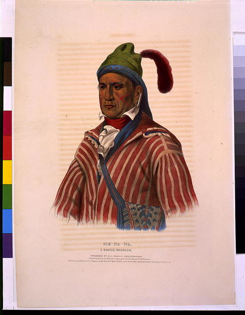 Me-Na-Wa. A Creek warrior / printed & coloured at I.T. Bowen's Lithographic Establishment No. 94 Walnut St.