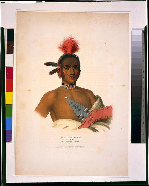 Moa-Na-Hon-Ga. Great Walker. An Ioway chief / printed & coloured at I.T. Bowen's Lithographic Establishment No. 94 Walnut St.