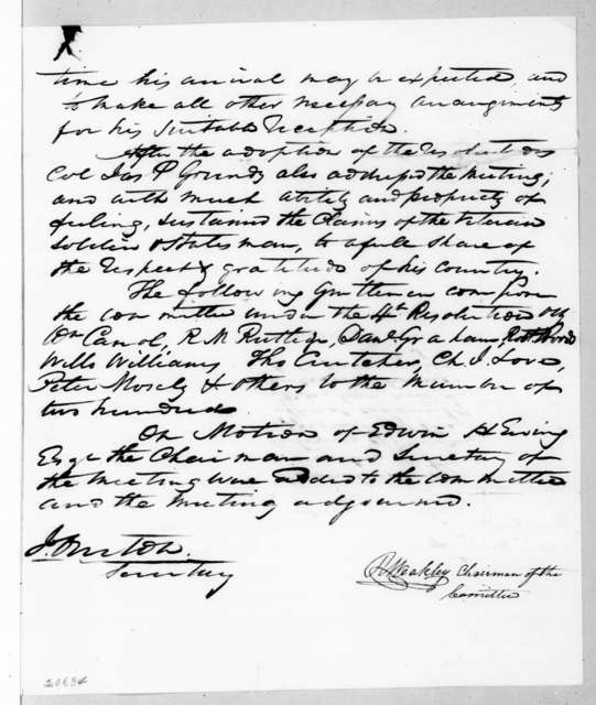 Nashville Citizens to Andrew Jackson, March 11, 1837