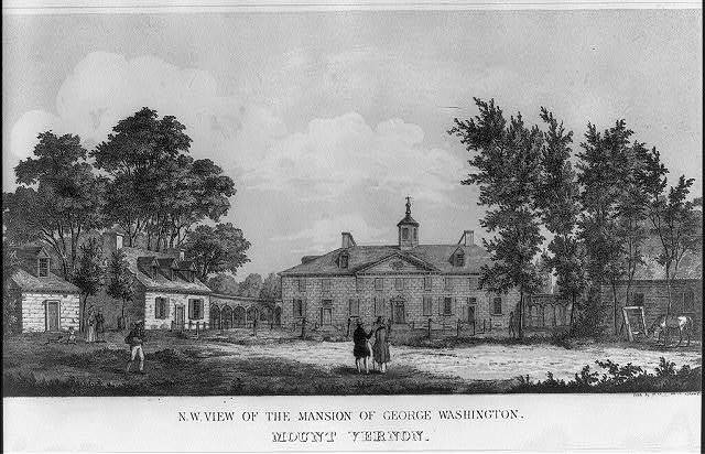 N.W. view of the mansion of George Washington. Mount Vernon / lith. by P. Haas, Washington City.