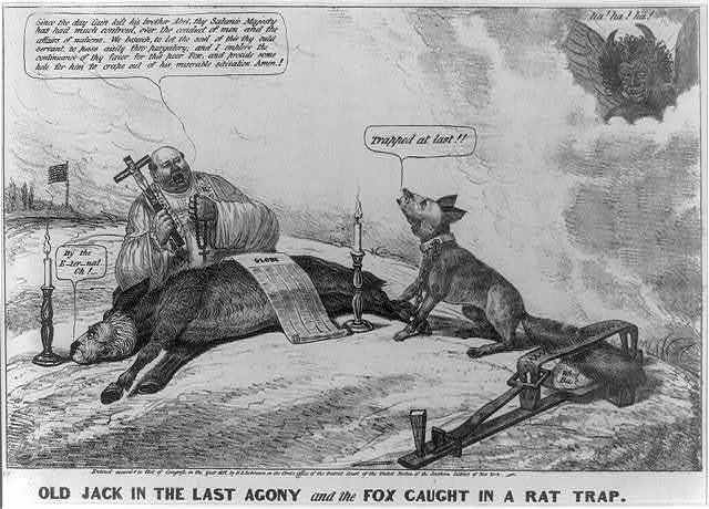 Old Jack in the last agony and the fox caught in a rat trap