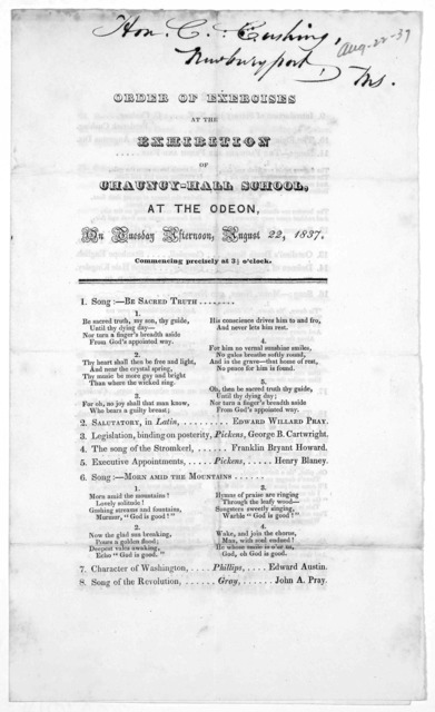 Order of exercieses at the exhibition of Chauncy-Hall School, at the Odeon, on Tuesday afternoon, August 22, 1837. [Boston, Press of Centinel & Gazette, 1837].