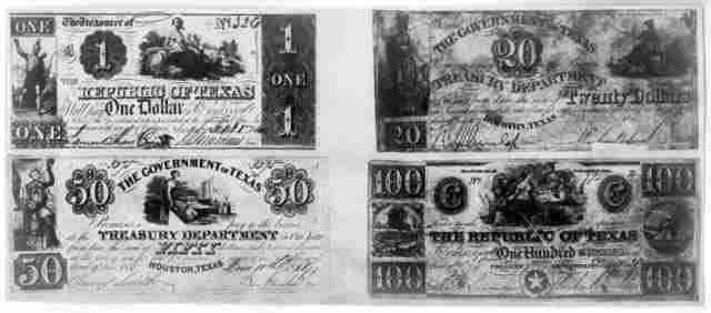 [Photostats of $1, $20, $50, and $100 bills of currency issued by the Republic of Texas, 1837-1841].