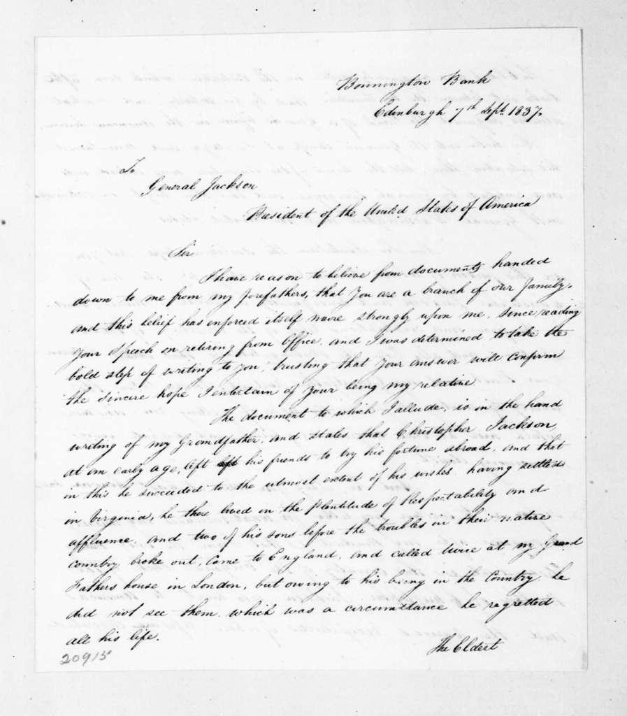 Robert Jackson to Andrew Jackson, September 7, 1837