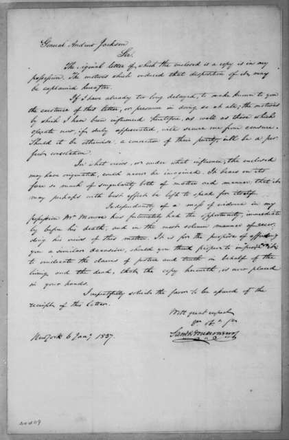 Samuel Montgomery to Andrew Jackson, January 6, 1837