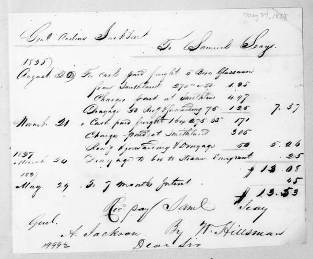 Samuel Seay to Andrew Jackson, May 29, 1837