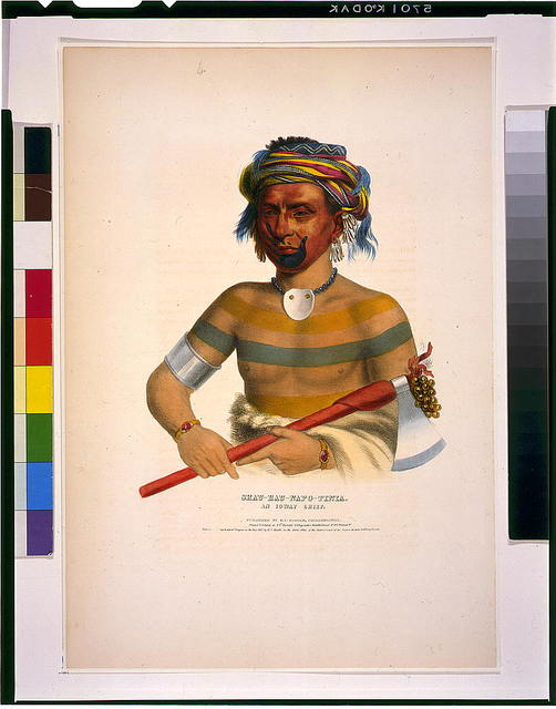 Shau-Hau-Napo-Tinia. An Ioway chief / printed & colored at I.T. Bowen's Lithographic Establishment No. 94 Walnut St.