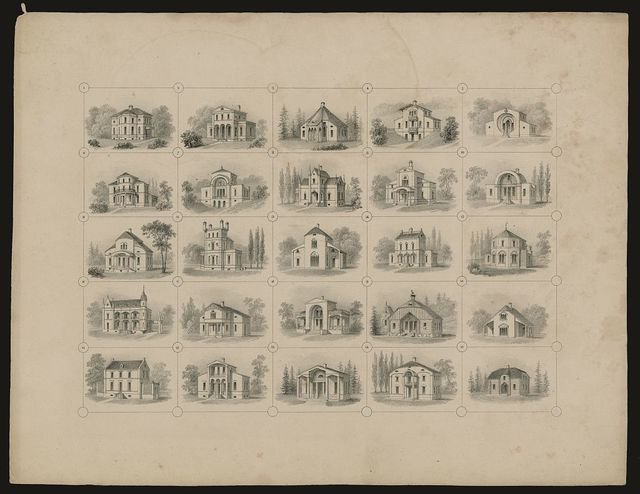 [Summary plate showing 25 country cottages and dwellings designed by Joseph Ramée]