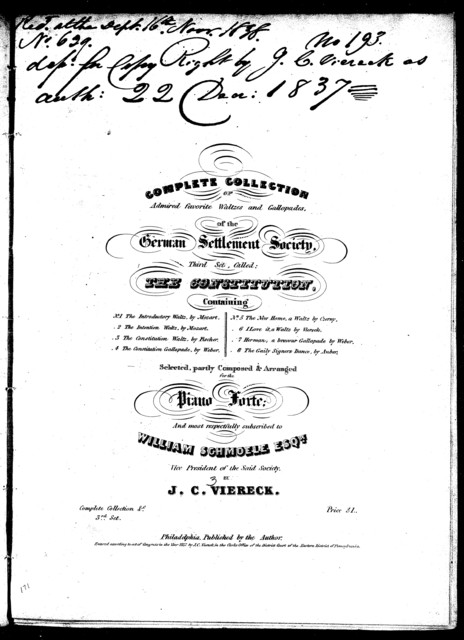 The  constitution, third section of the complete collection of admired favorite waltzes and gallopades of the German Settlement Society