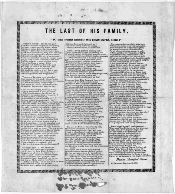 The last of his family ... Nathan Lanesford Foster. Mt. Parnassus, Con. Aug. 30, 1837.