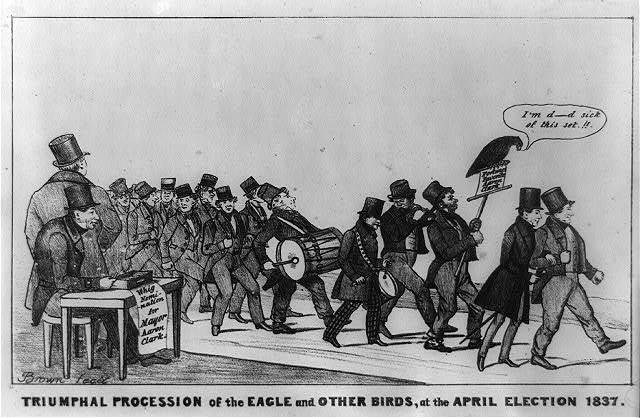 Triumphal procession of the eagle and other birds, at the April election 1837