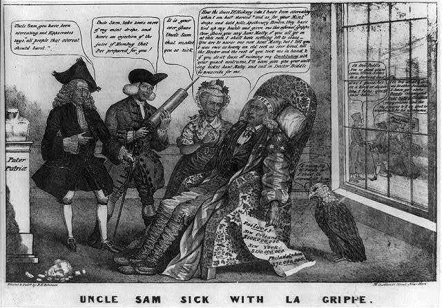 Uncle Sam sick with la grippe