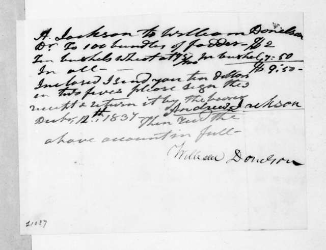 William Donelson to Andrew Jackson, December 12, 1837