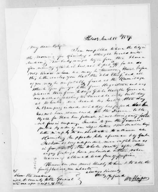 William J. Leiper to Andrew Jackson Donelson, March 18, 1837