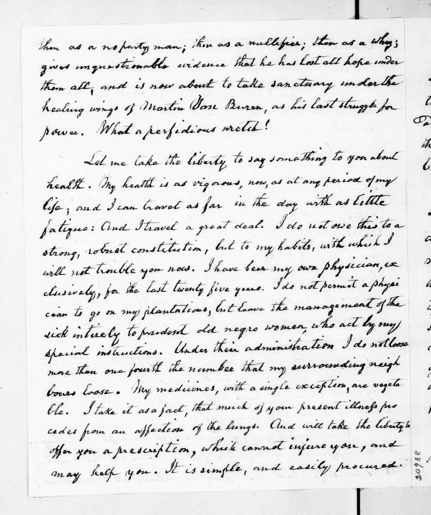 William Smith to Andrew Jackson, October 1, 1837