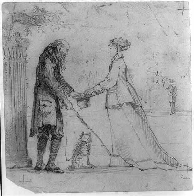 [Woman and beggar]