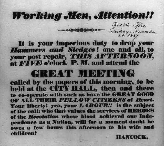 Working men, attention!! it is your imperious duty to drop your hammers and sledges! ... and attend the great meeting ...