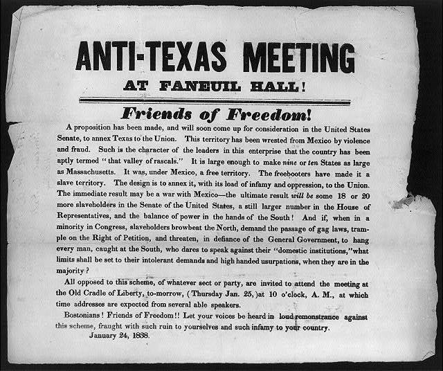 Anti-Texas Meeting at Faneuil Hall!, Friends of Freedom! ... Jan. 24, 1838