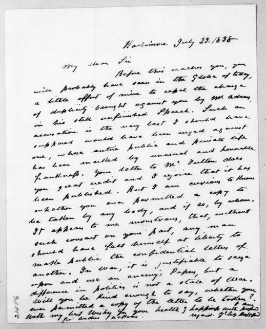 Benjamin Chew Howard to Andrew Jackson, July 23, 1838