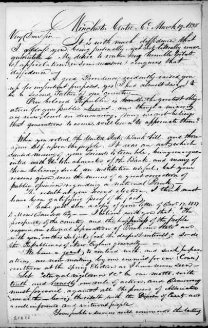 Birdsey Bronson to Andrew Jackson, March 19, 1838