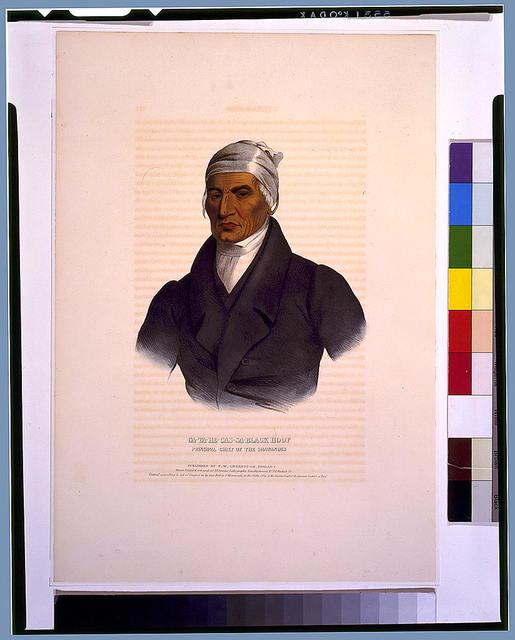 Ca-Ta-He-Cas-Sa-Black Hoof, principal chief of the Shawanoes / drawn, printed & coloured at I.T. Bowen's Lithographic Establishment.