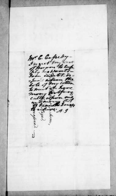 Charles Cassedy to Andrew Jackson, February 5, 1838