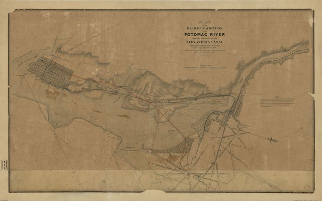 Chart of the head of navigation of the Potomac River shewing the route of the Alexandria Canal : made in pursuance of a resolution of the Alex'a Canal Company Oct. 1838 /