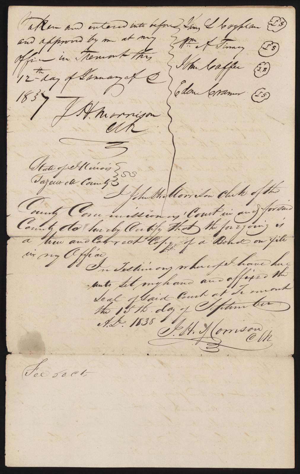 Declaration in Tazewell County Commissioners for Use of People vs Coghlan et al, [Law papers].