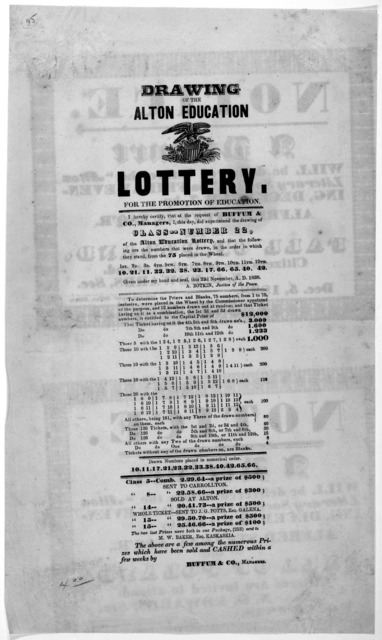 Drawing of the Alton education lottery for the promotion of education. 22nd of November A. D. 1838. [Alton 1838].